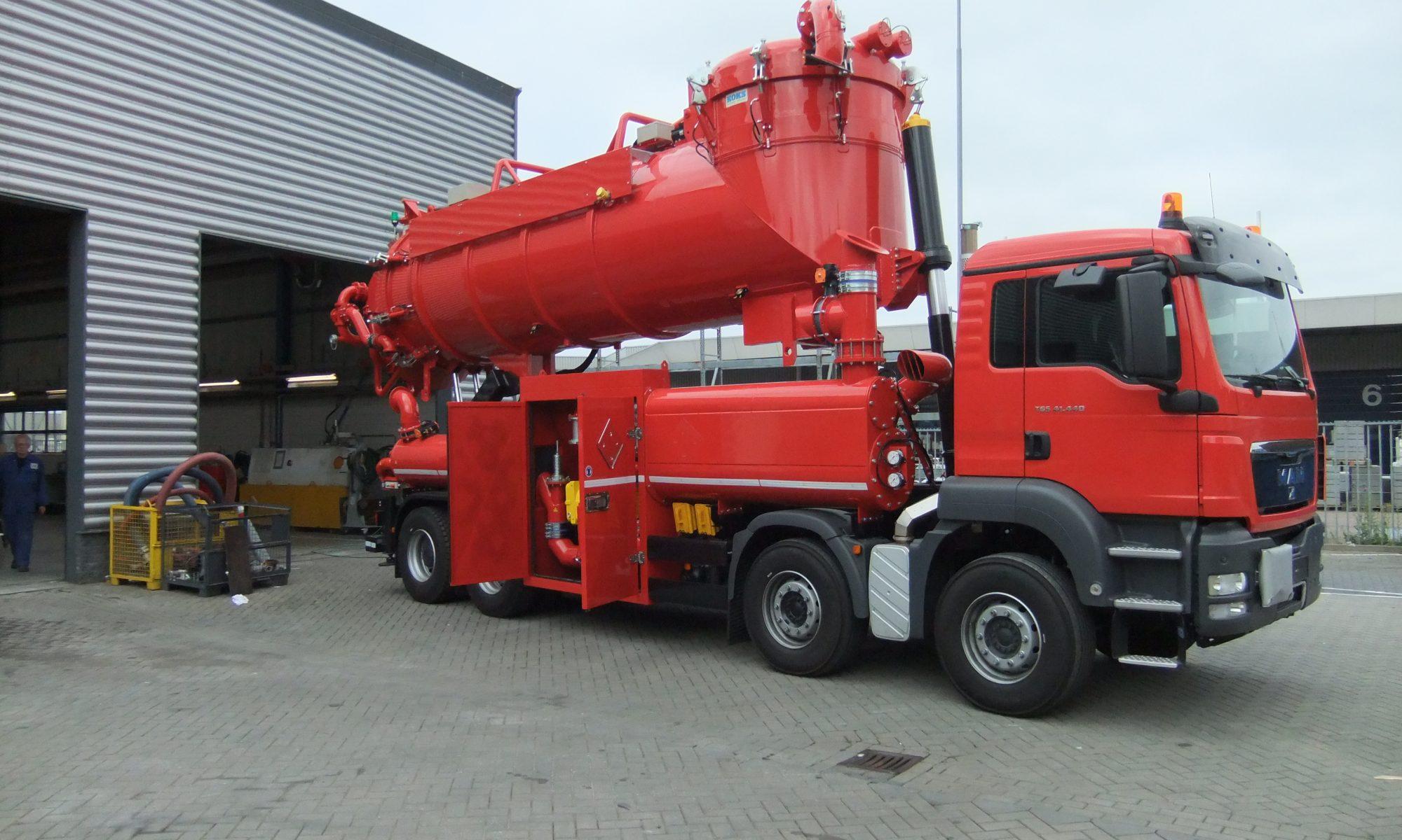 Red Vacuum Truck